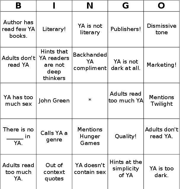 YA Bingo Card