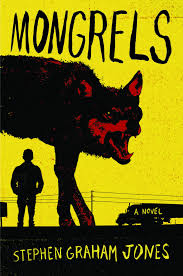 an illustration with a red-tinged silhouette of a wolf in the foreground and a standing person in front of power lines and a car against a yellow background