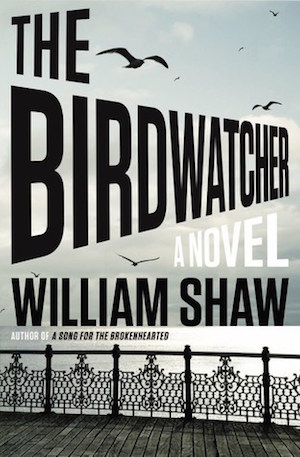 The Birdwatcher novel cover railed dock on ocean view
