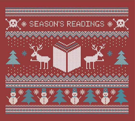 ugly sweater design that says Season's Readings and includes knitted-looking skulls, reindeer, a book, and snowmen