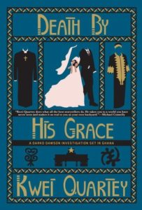 Death By His Grace cover image: blue background with graphic design images of priest clothes, bride and groom, and Dashiki