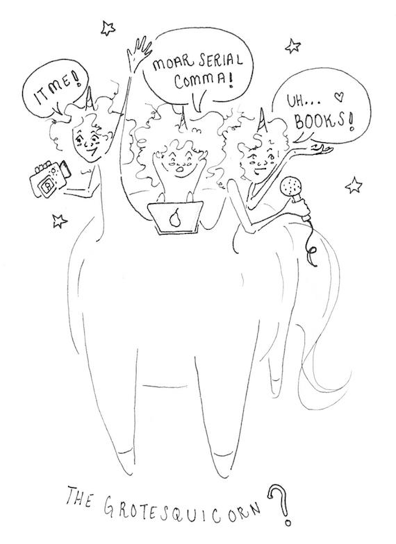 her many-headed unicorn sketch