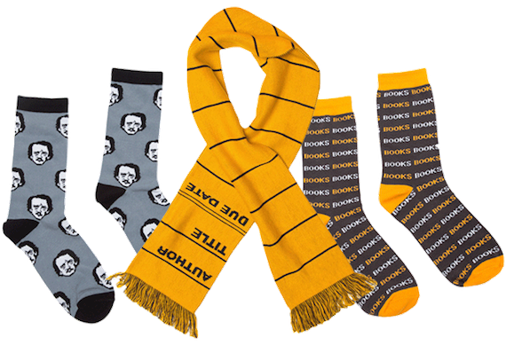 Book Riot Insiders deal collage featuring Poe socks, a library scarf, and socks that say BOOKS all over them