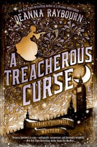 A Treacherous Curse cover image: a doodled image in browns and blacks of Victorian London with an outline of a woman with a butterfly net