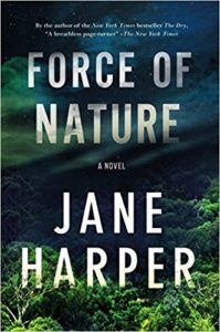 Force of Nature cover image: aerial view of green forest with title letters foggy through sky