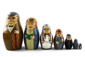 hand painted russian nesting dolls as characters from Sherlock