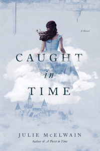 cover image: Washington DC flipped upside as the skyline a british castle at the bottom and a woman in a blue Victorian dress running away in a white cloud in the center all washed in a light blue color