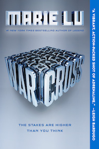 A steel gray and blue cover with a 3D version of WARCROSS in the center