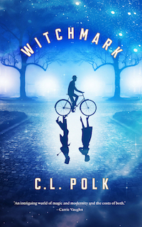 a blue-toned city street with trees and a cobblestone road, with a silhoutte of a man wearing a bowler on a bicycle. a woman and another man are reflected on the street in the shadow of the bike.