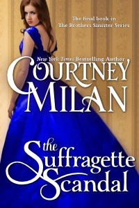 cover of courtney milan's the suffragette scandal woman in blue dress