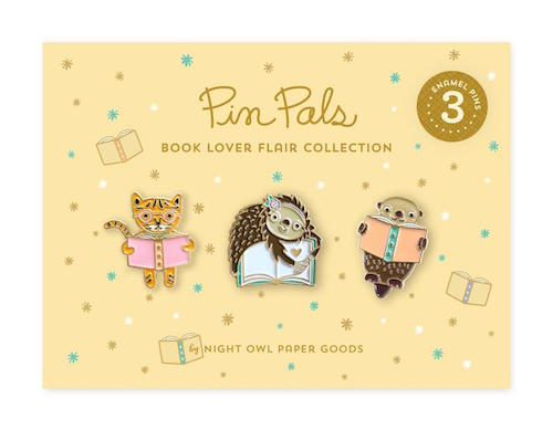 3 animals reading book pins