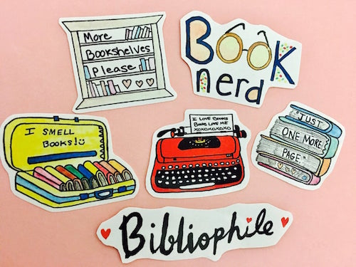 pack fo 6 stickers for bibliophiles