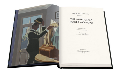 image of opening page of folio society's The Murder of Roger Ackroyd