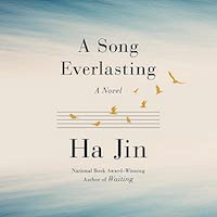 A graphic of the cover A Song Everlasting which features an off white and light blue