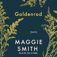 A graphic of the cover of Goldenrod, which features a greenish blue background with goldenrod
