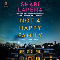 A graphic of the cover of Not a Happy Family which features an old mansion lit up at night