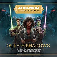 A graphic of the cover of Out of the Shadows, which features three Star Wars characters