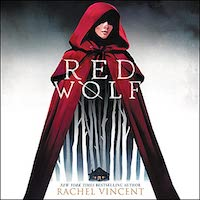 A graphic of the cover of Red Wolf, which features a woman wearing a red hooded cape.