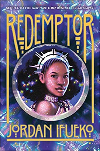 cover of Redemptor (Raybearer by Jordan Ifueko, featuring a head and shoulders illustration of a young Black woman wearing a spiky silver crown